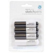 lot 4 stylos noirs et blancs silhouette