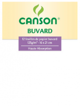 12 FEUILLES BUVARD CANSON 12GR 16X21 BLANC