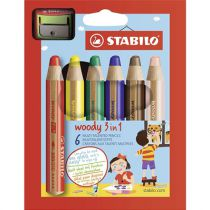 6 CRAYONS WOODY + 1 TAILLE CRAYON