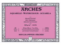 BLOC AQUARELLE ARCHES 18X26CM GRAIN SATINE 300GRS 20 FEUILLES