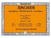 BLOC AQUARELLE ARCHES 18X26CM GRAIN TORCHON 300GRS 20 FEUILLES
