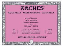 BLOC AQUARELLE ARCHES 23X31CM GRAIN SATINE 300GRS 20 FEUILLES