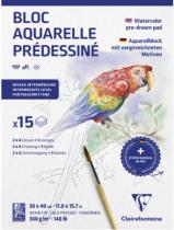 BLOC AQUARELLE PREDESSINE 30X40 Cm