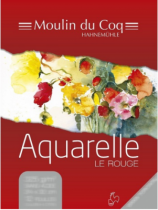 BLOC AQUARELLE ROUGE  COLLE GRAIN FIN 30*40