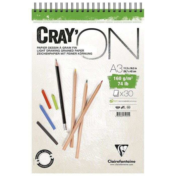 BLOC CRAY\'ON SPIRALE A3 160GRS