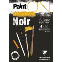 BLOC PAINT\'ON A2 20F ENCOLLE 250G NOIR
