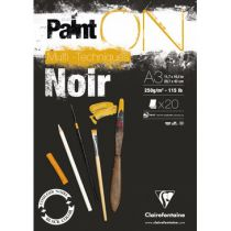 BLOC PAINT\'ON A3 20F ENCOLLE 250G NOIR