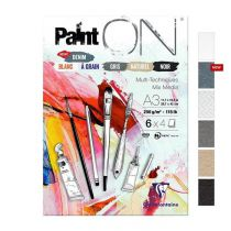 BLOC PAINT\'ON A3 24F ENCOLLE 250G ASSORTI