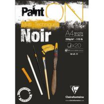 BLOC PAINT\'ON A4 20F ENCOLLE 250G NOIR