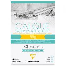 BLOC PAPIER CALQUE VELOUTE A3 55GR 50FEUILLES
