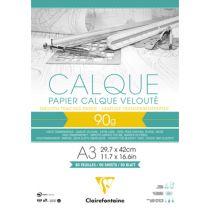 BLOC PAPIER CALQUE VELOUTE CLAIREFONTAINE A3 90GR 50FEUILLES