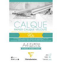 BLOC PAPIER CALQUE VELOUTE CLAIREFONTAINE A4 90GR 50FEUILLES