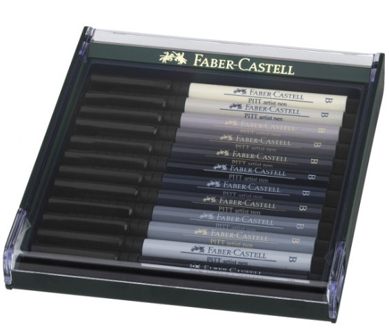Lot de 12 artist pen brush Pitt - Gris