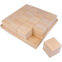PLATEAU + 16 CUBES EN BOIS 26.5x26.5x6.5cm