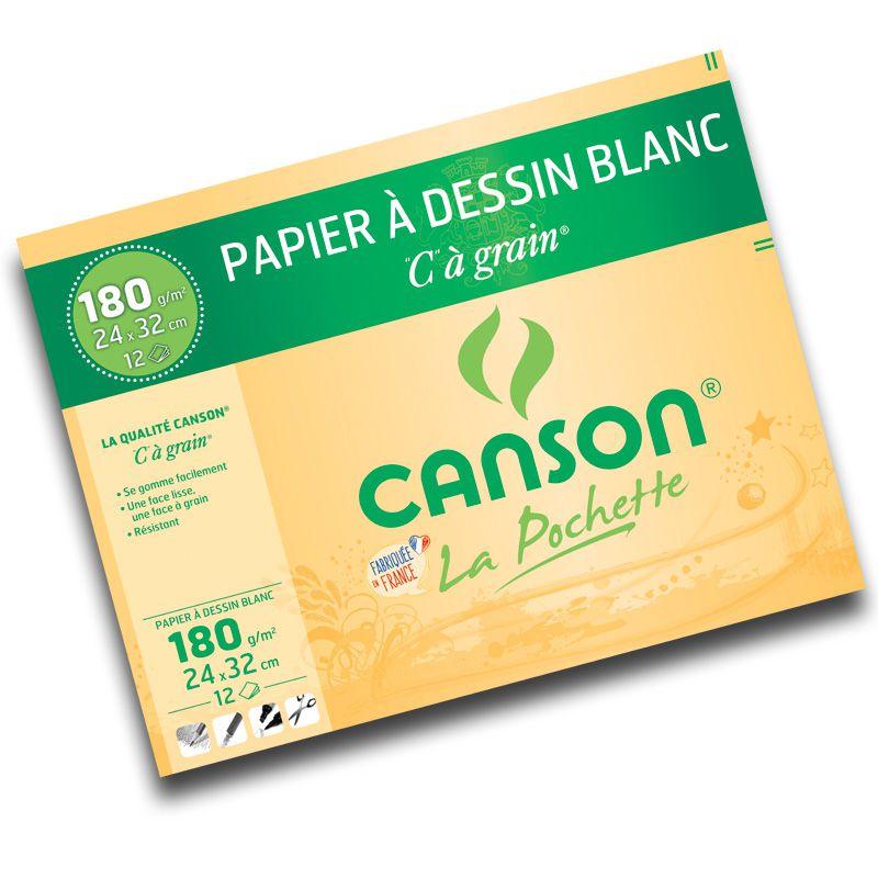 "POCHETTE \""C\"" A GRAIN CANSON 24X32CM 180 GR"