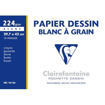 POCHETTE DESSIN A GRAIN A3 BLANC 224G