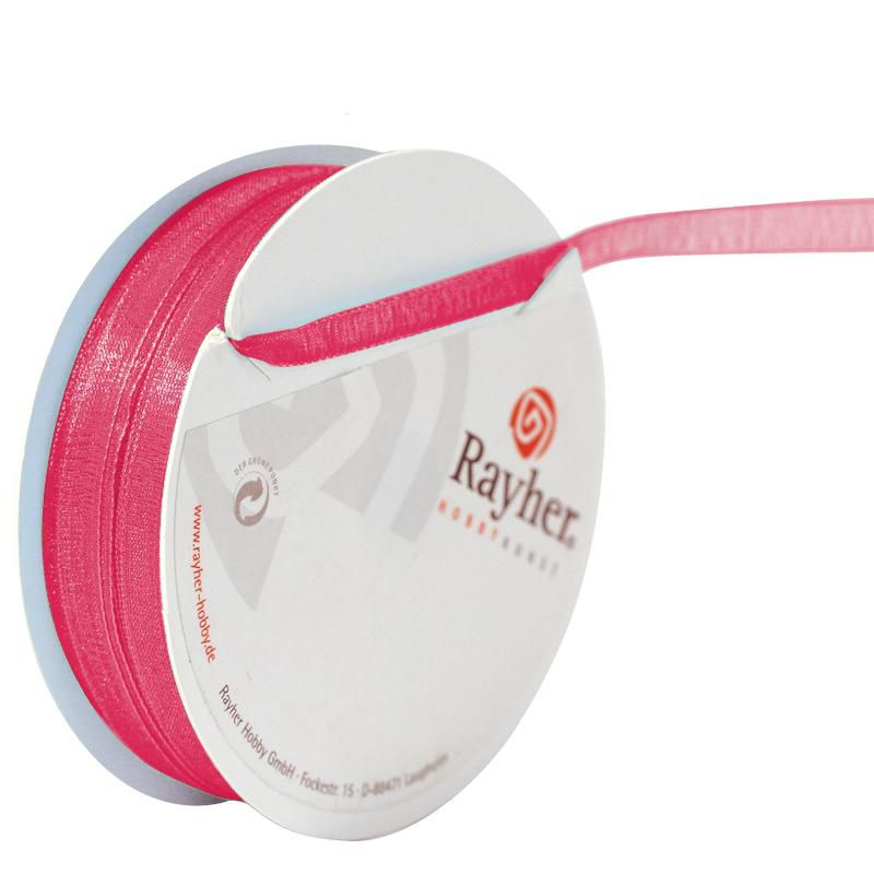 RUBAN ORGANDI 7MM ROSE FONCE