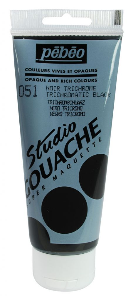 STUDIO GOUACHE 100ML NOIR TRICHROME