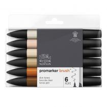 W&N BRUSHMARKER SET 6PC TONS DE CHAIR